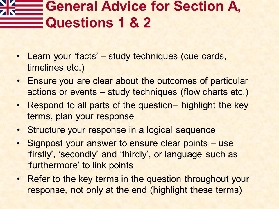 General Advice for Section A, Questions 1 & 2