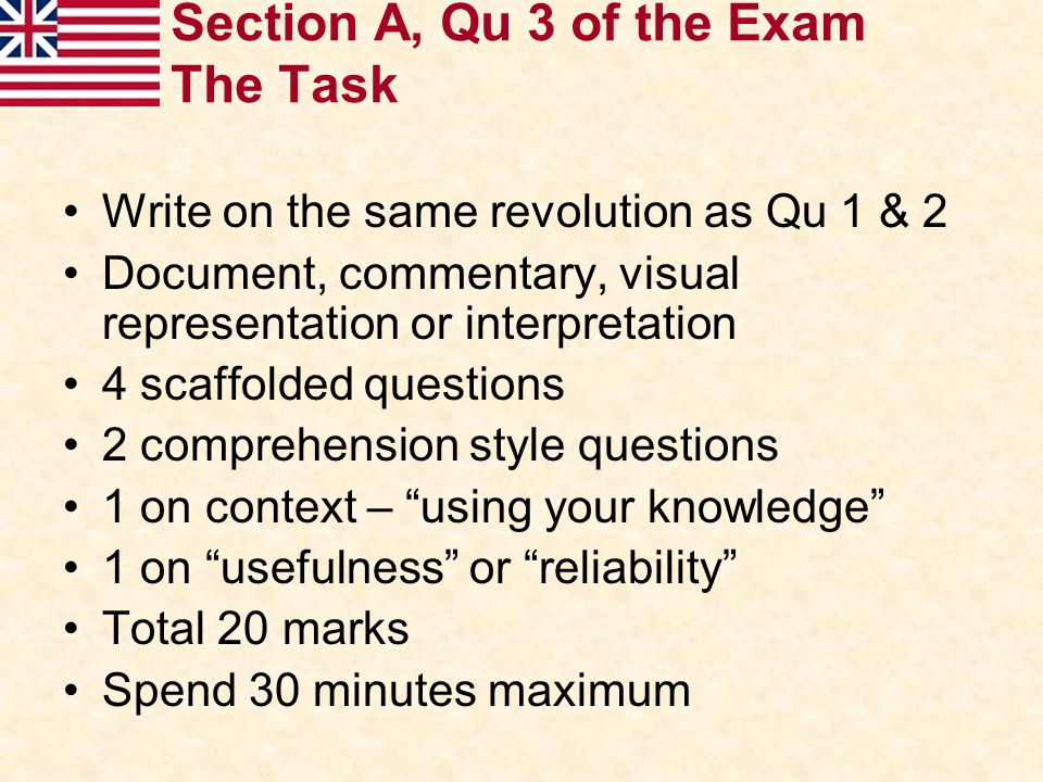 Section A, Qu 3 of the Exam The Task