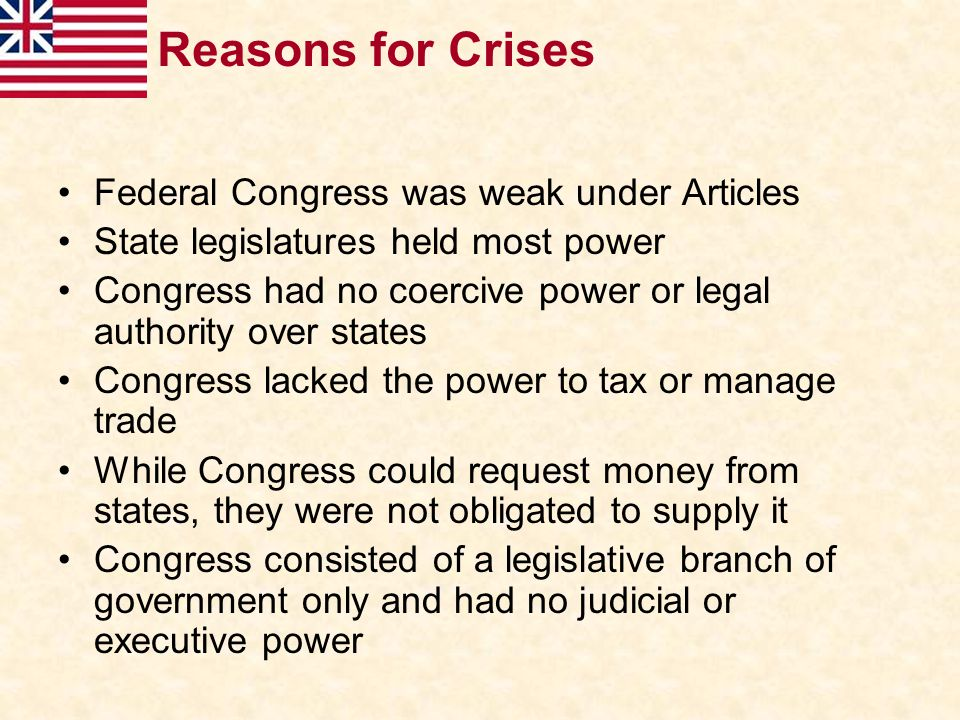 Reasons for Crises Federal Congress was weak under Articles
