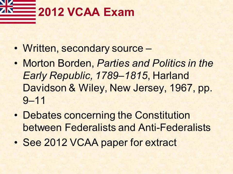 2012 VCAA Exam Written, secondary source –