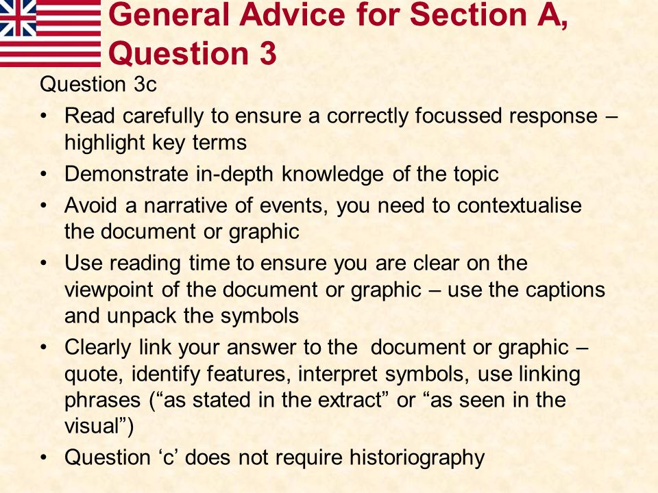 General Advice for Section A, Question 3