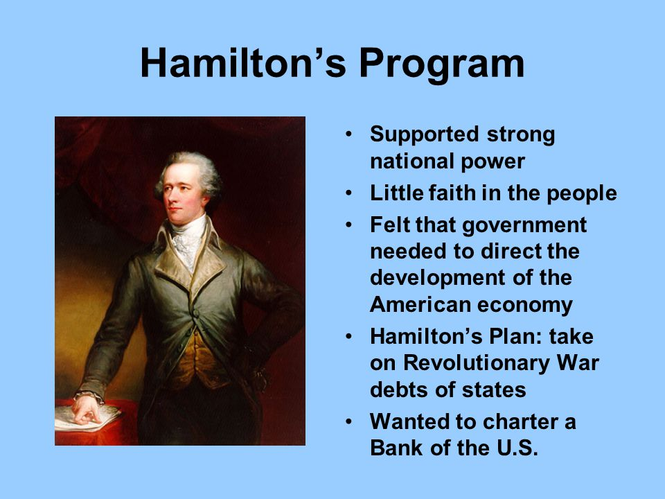 Hamilton's Program Supported strong national power