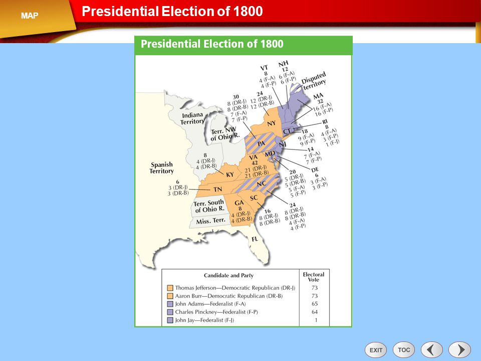 Map: Presidential Elections of 1800