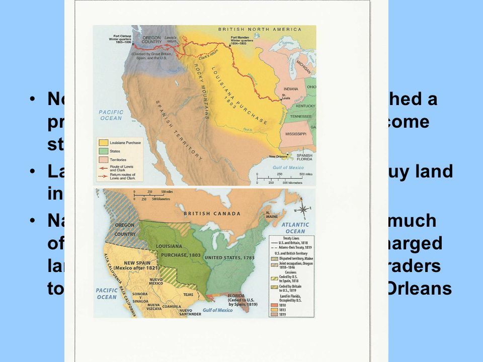 Louisiana Purchase Northwest Ordinance of 1787: established a process by which territories could become states.