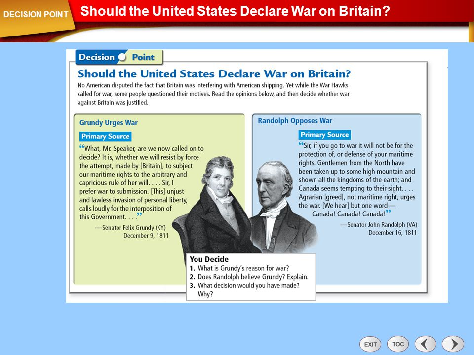 Decision Point: Should the United States Declare War on Britain