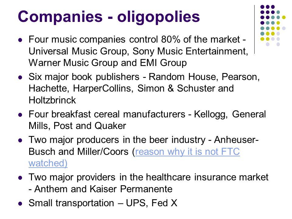 Companies - oligopolies