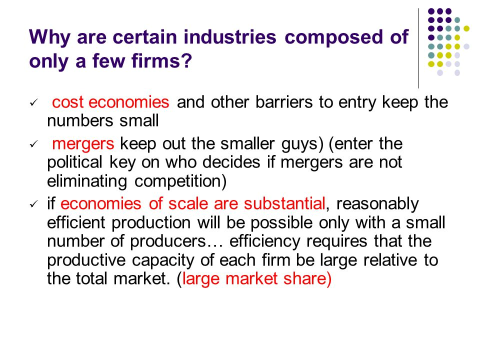 Why are certain industries composed of only a few firms