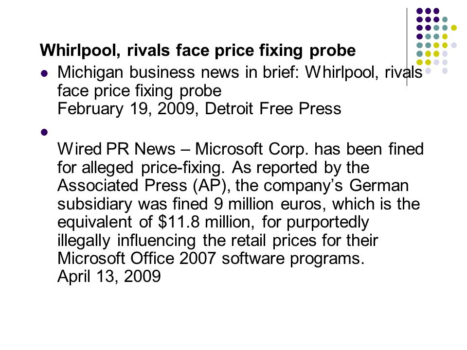 Whirlpool, rivals face price fixing probe