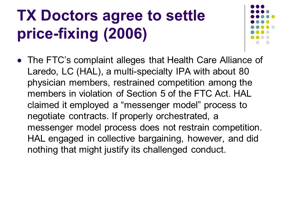 TX Doctors agree to settle price-fixing (2006)