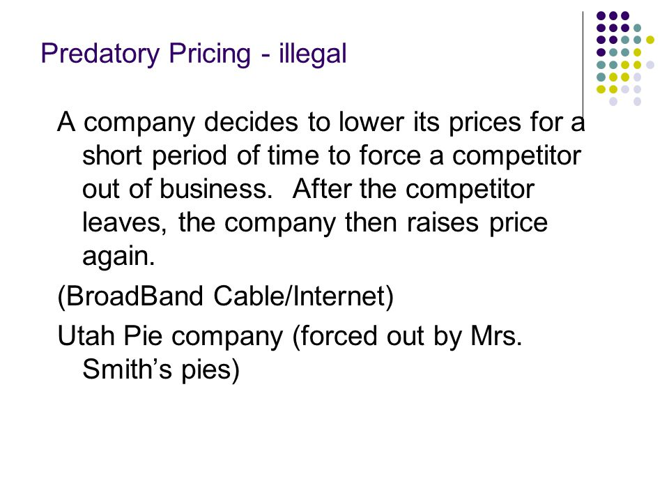 Predatory Pricing - illegal