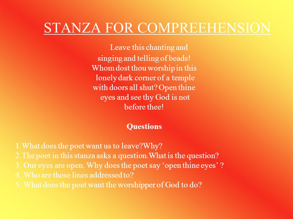 STANZA FOR COMPREEHENSION