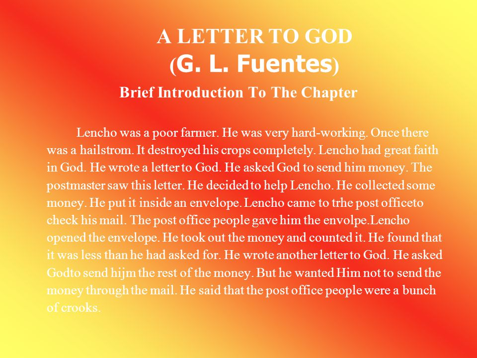 A LETTER TO GOD (G. L. Fuentes)