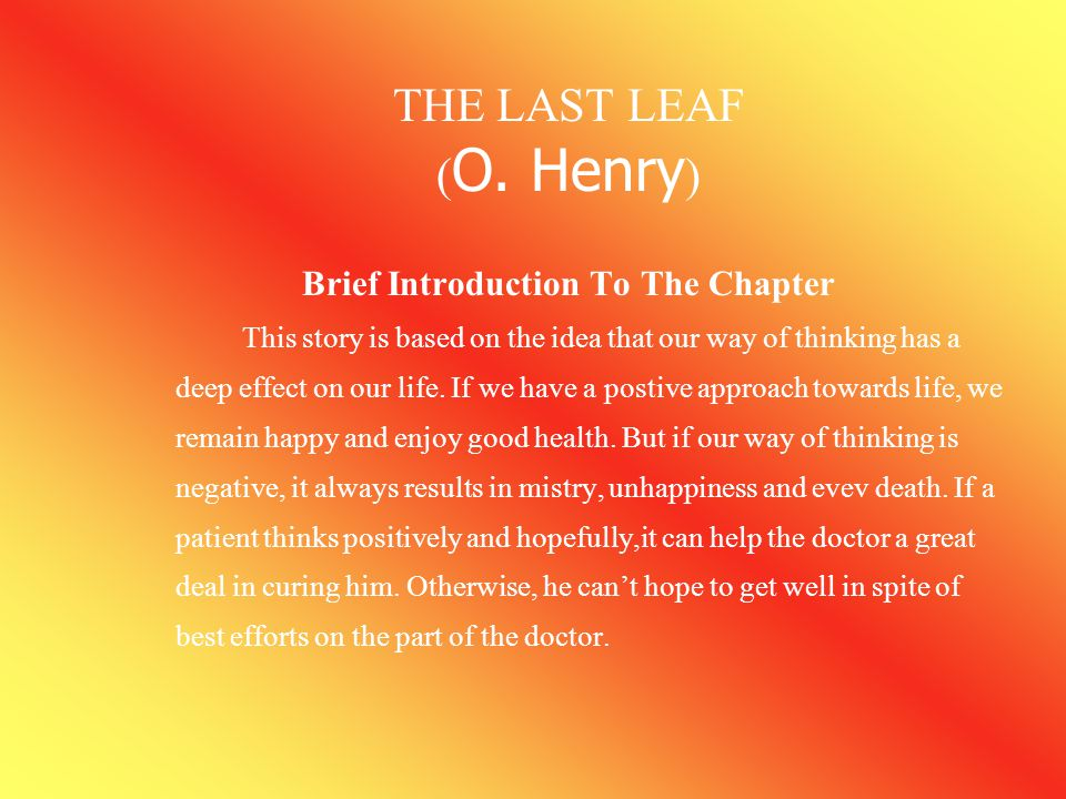 Brief Introduction To The Chapter