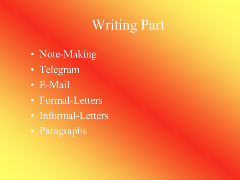 Writing Part Note-Making Telegram E-Mail Formal-Letters