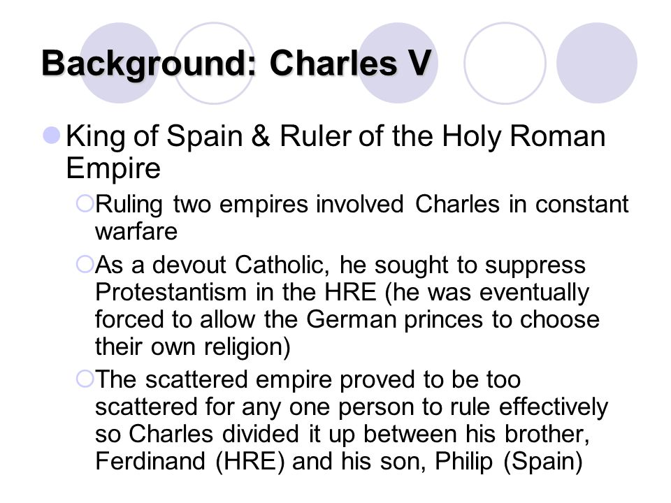 Background: Charles V King of Spain & Ruler of the Holy Roman Empire
