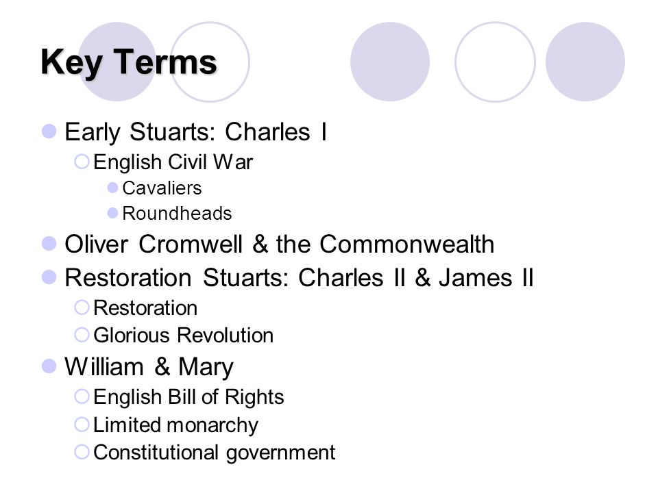 Key Terms Early Stuarts: Charles I Oliver Cromwell & the Commonwealth