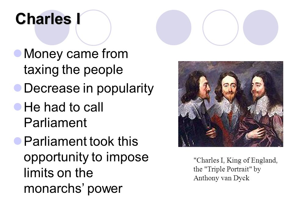 Charles I Money came from taxing the people Decrease in popularity