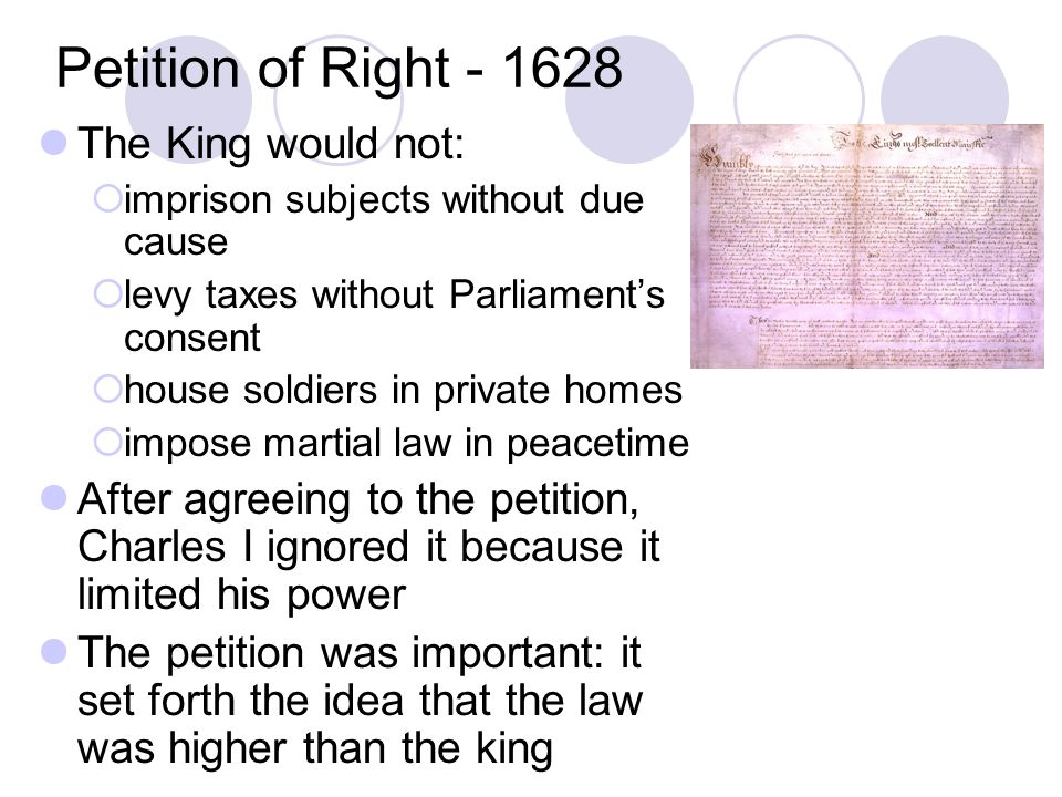 Petition of Right - 1628 The King would not: