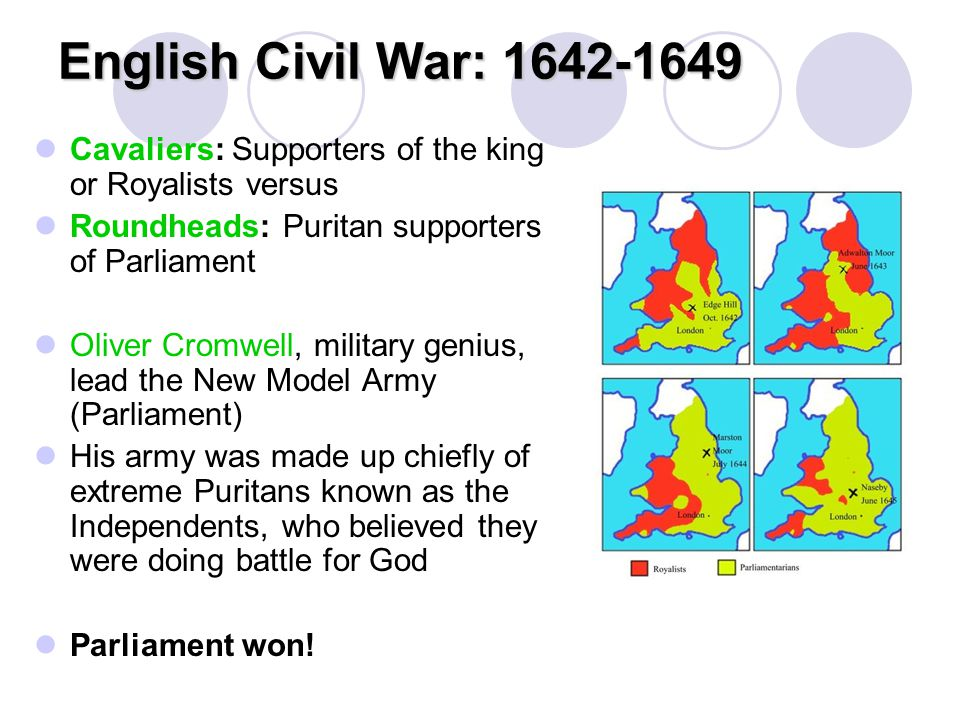 English Civil War: 1642-1649 Cavaliers: Supporters of the king or Royalists versus. Roundheads: Puritan supporters of Parliament.