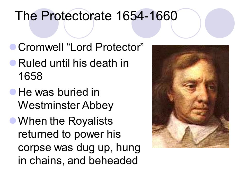 The Protectorate 1654-1660 Cromwell Lord Protector
