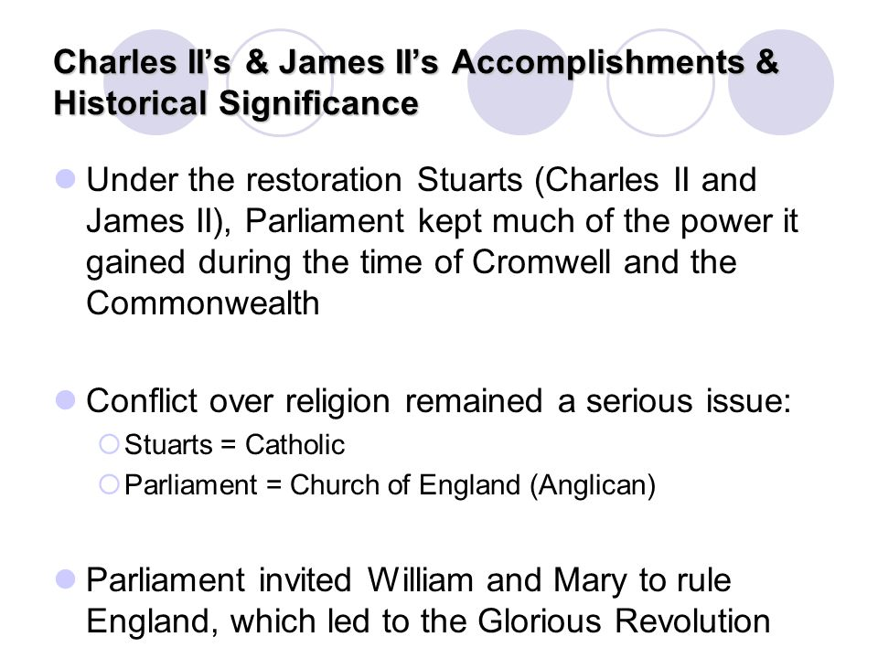 Charles II's & James II's Accomplishments & Historical Significance