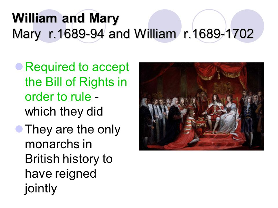 William and Mary Mary r.1689-94 and William r.1689-1702