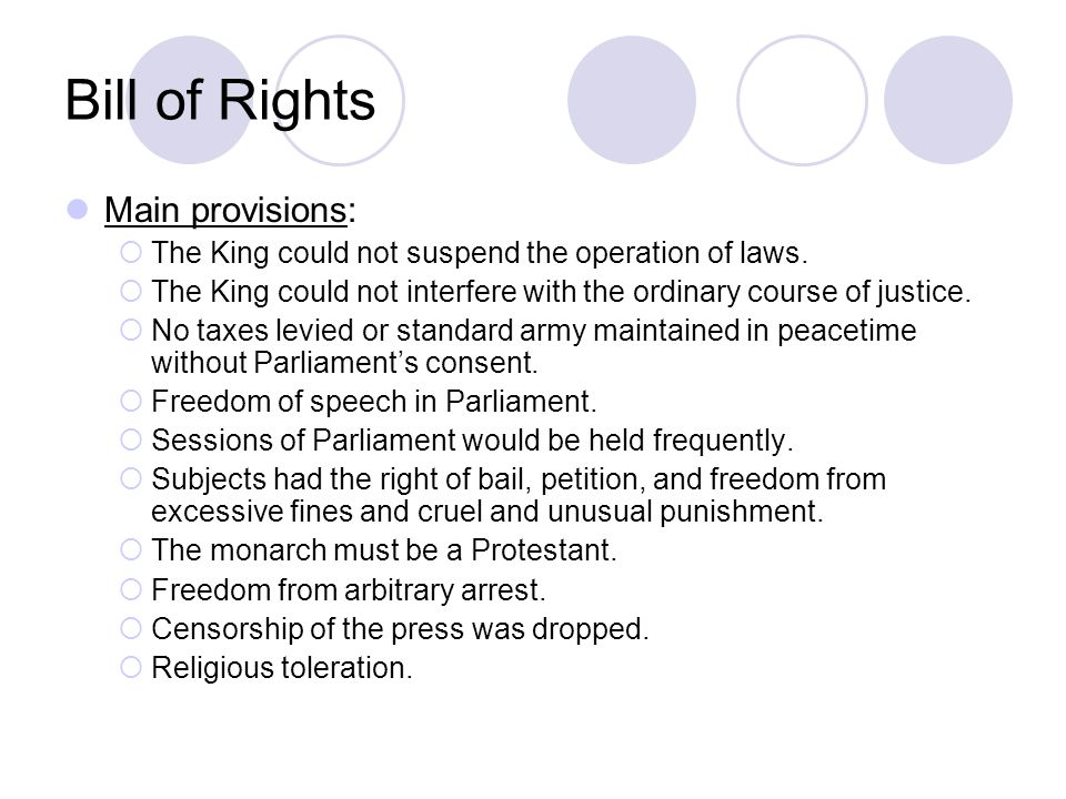 Bill of Rights Main provisions: