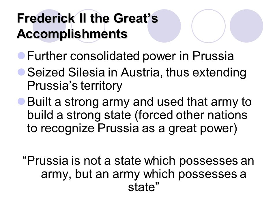 Frederick II the Great's Accomplishments