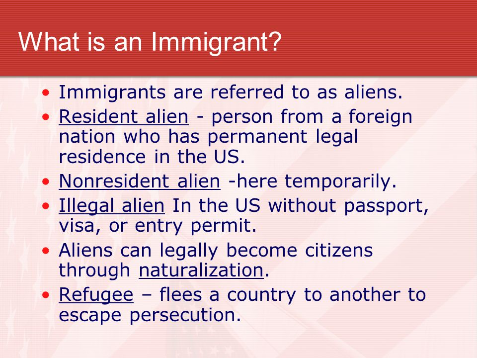 What is an Immigrant Immigrants are referred to as aliens.