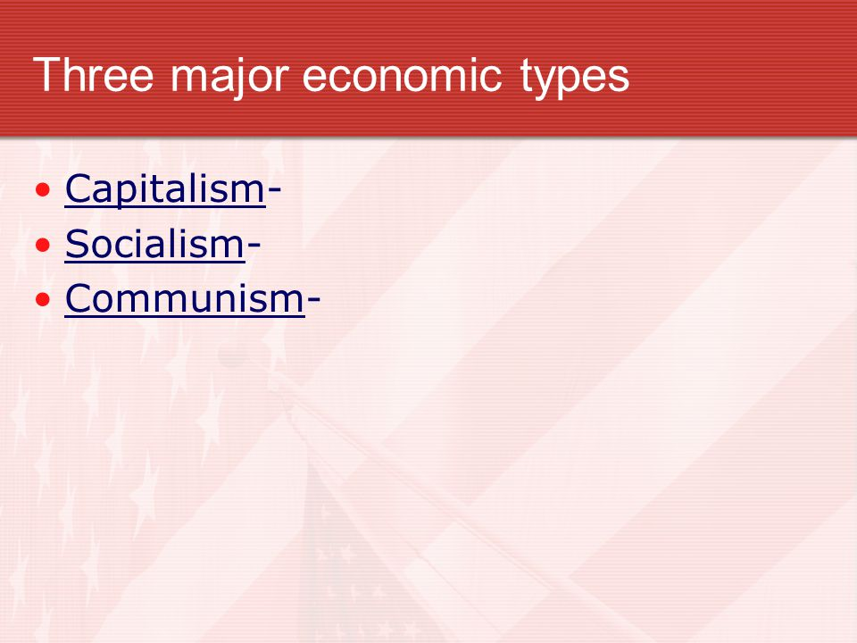 Three major economic types