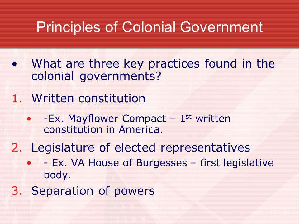 Principles of Colonial Government