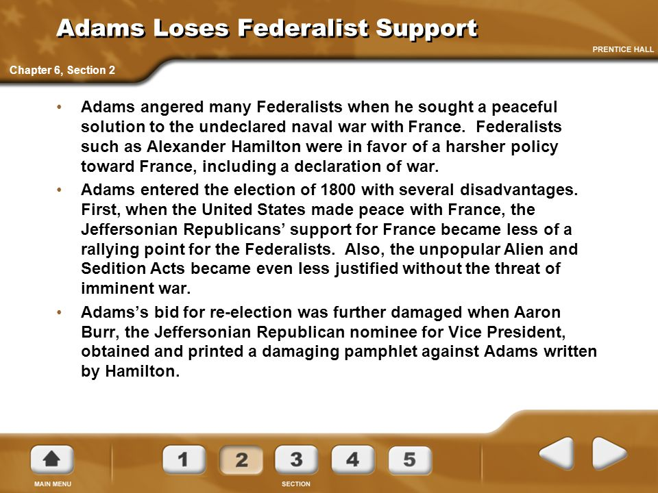 Adams Loses Federalist Support