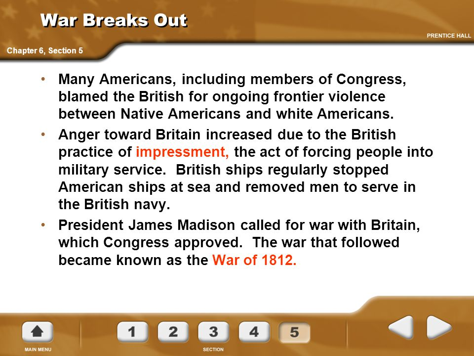 War Breaks Out Chapter 6, Section 5.