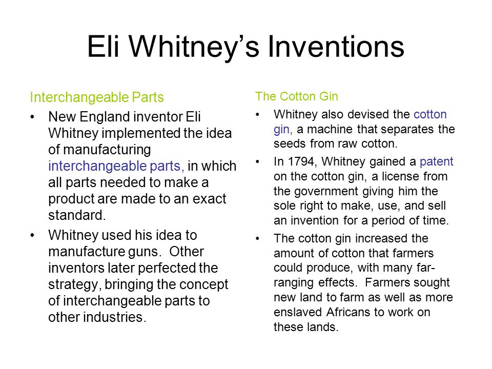 Eli Whitney's Inventions