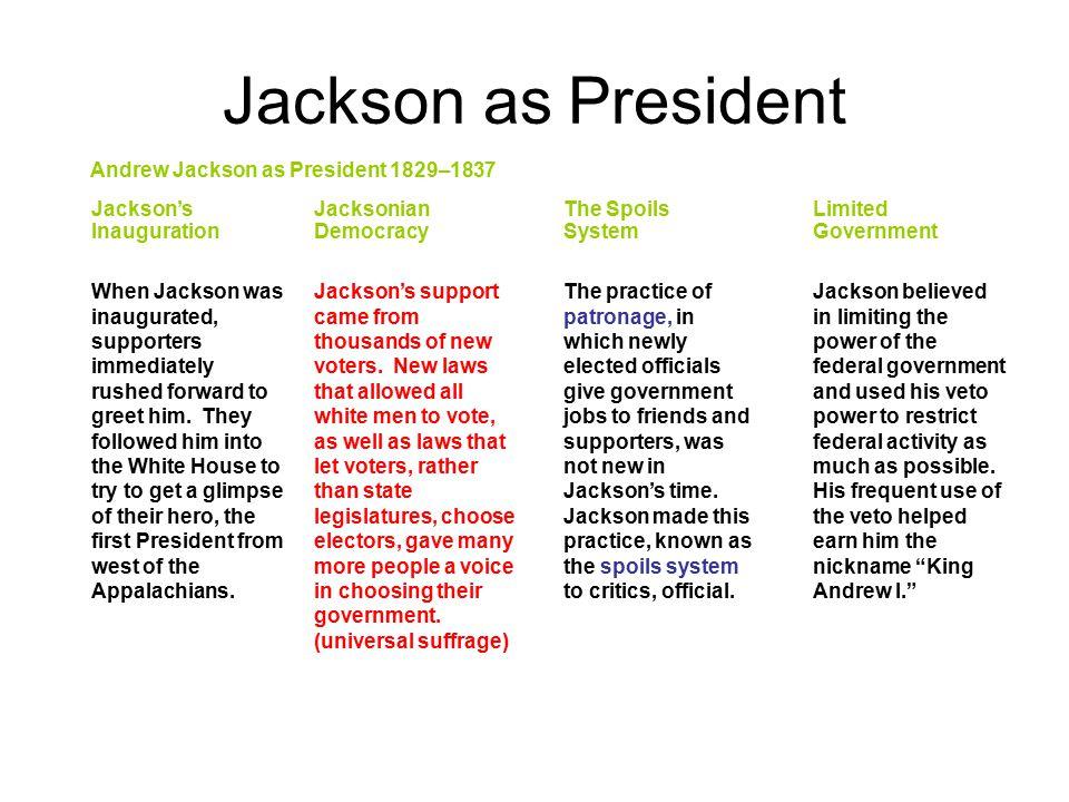 Jackson as President Andrew Jackson as President 1829–1837