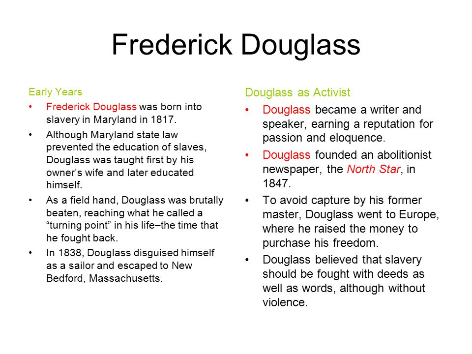 Frederick Douglass Douglass as Activist