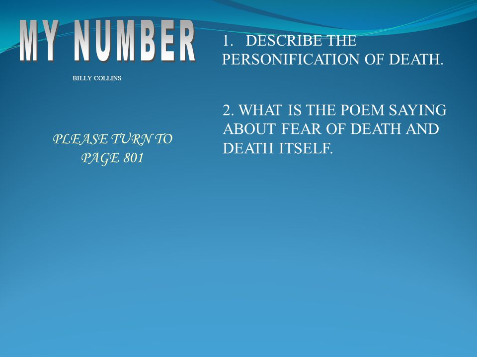 MY NUMBER DESCRIBE THE PERSONIFICATION OF DEATH.