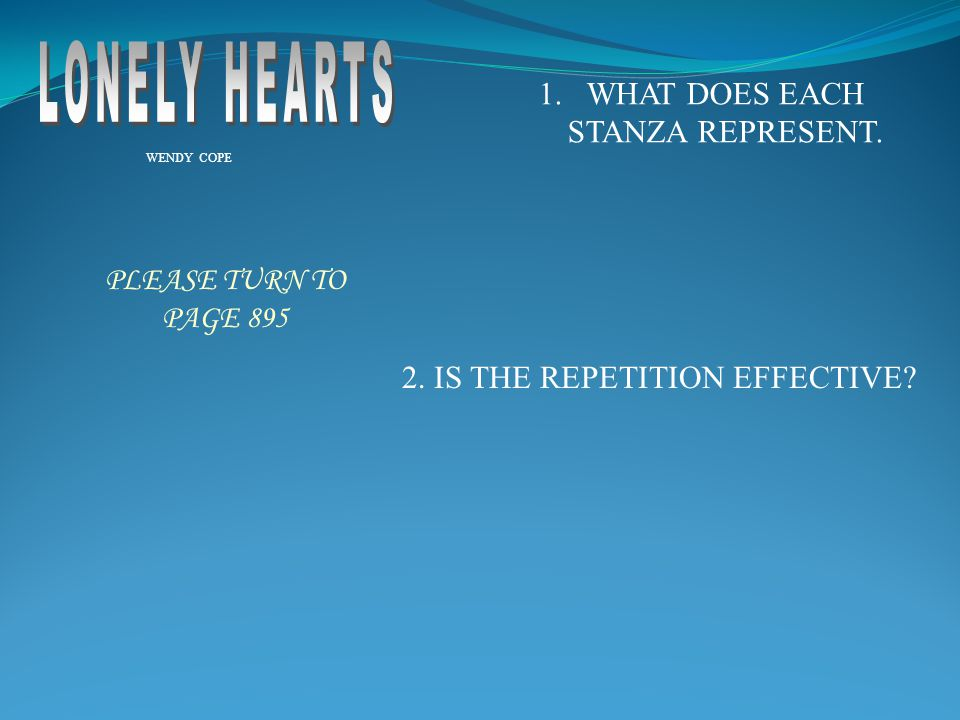 WHAT DOES EACH STANZA REPRESENT.