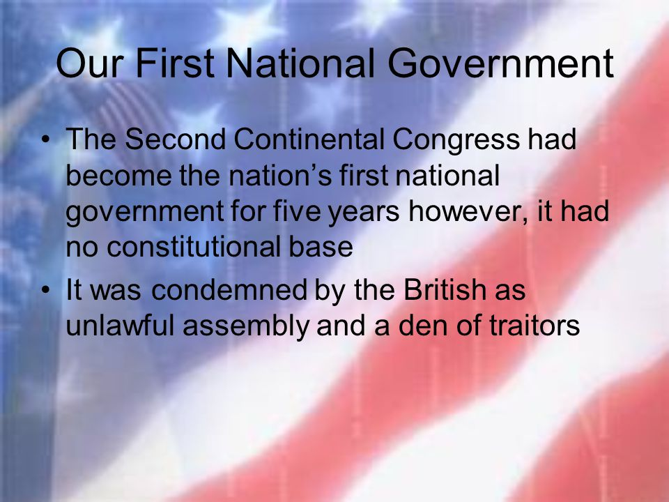 Our First National Government