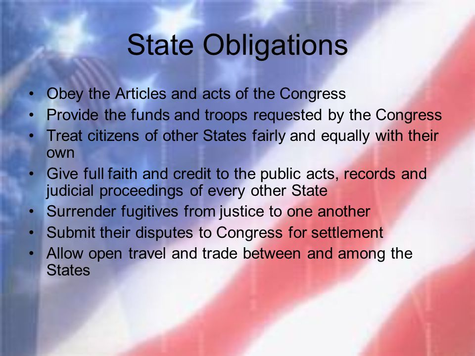State Obligations Obey the Articles and acts of the Congress