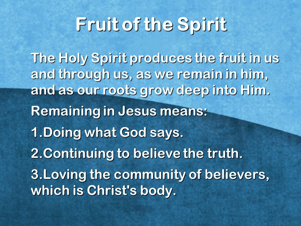 Fruit of the Spirit The Holy Spirit produces the fruit in us and through us, as we remain in him, and as our roots grow deep into Him.