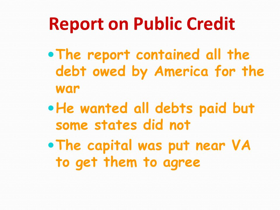 Report on Public Credit