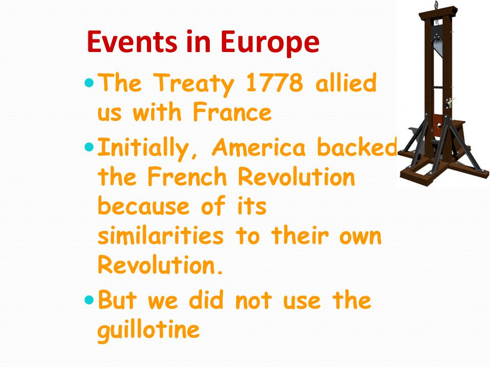 Events in Europe The Treaty 1778 allied us with France