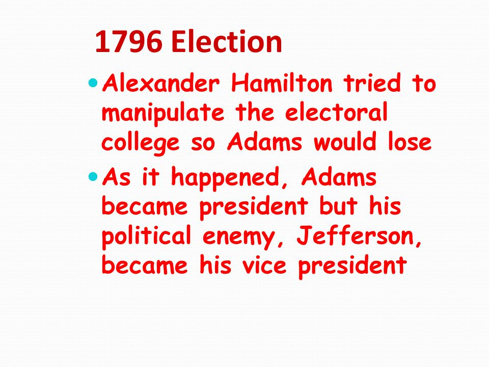 1796 Election Alexander Hamilton tried to manipulate the electoral college so Adams would lose.