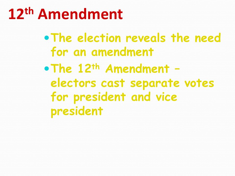 12th Amendment The election reveals the need for an amendment