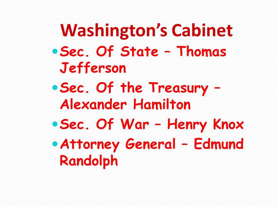 Washington's Cabinet Sec. Of State – Thomas Jefferson