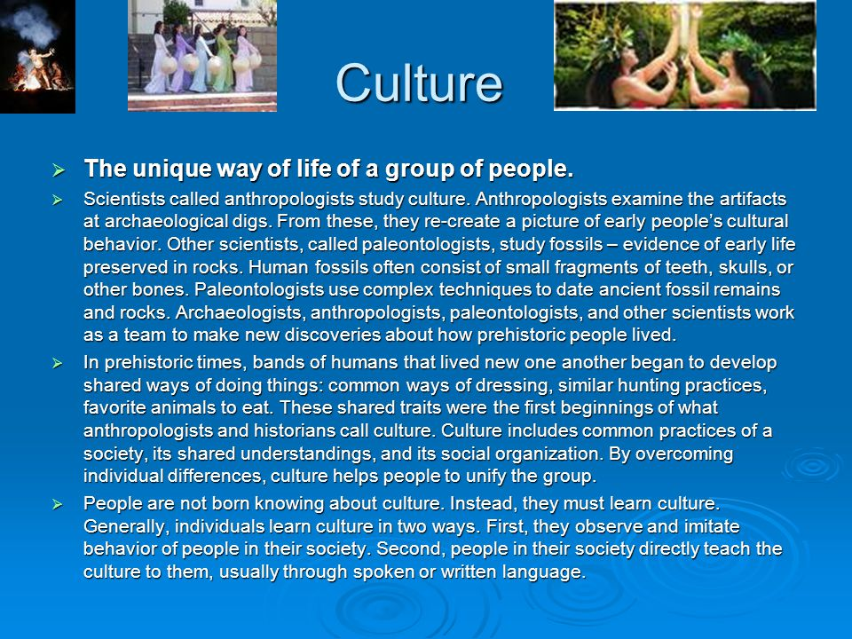 Culture The unique way of life of a group of people.