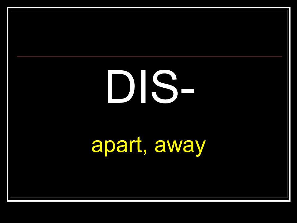 DIS- apart, away