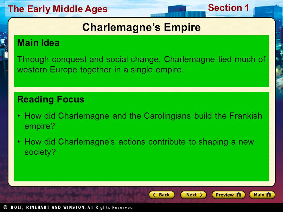 Charlemagne's Empire Main Idea Reading Focus