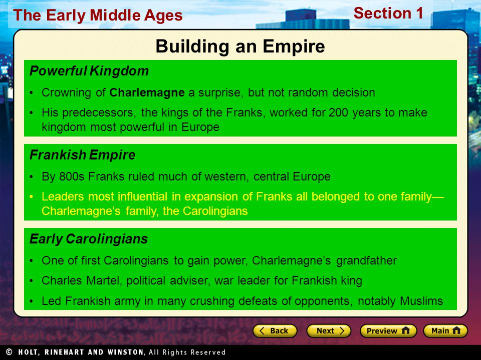 Building an Empire Powerful Kingdom Frankish Empire Early Carolingians
